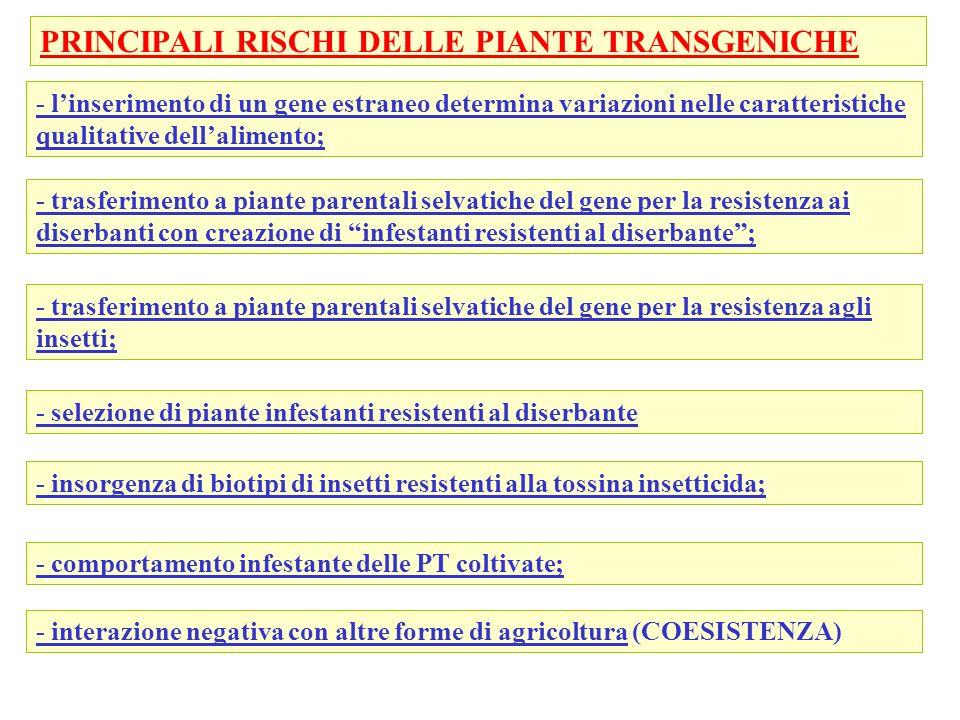 - trasferimento a piante parentali selvatiche del gene per la resistenza agli insetti; - selezione di piante infestanti resistenti al diserbante - ins