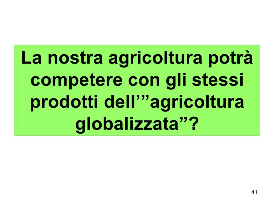 41 La nostra agricoltura potrà competere con gli stessi prodotti dellagricoltura globalizzata?