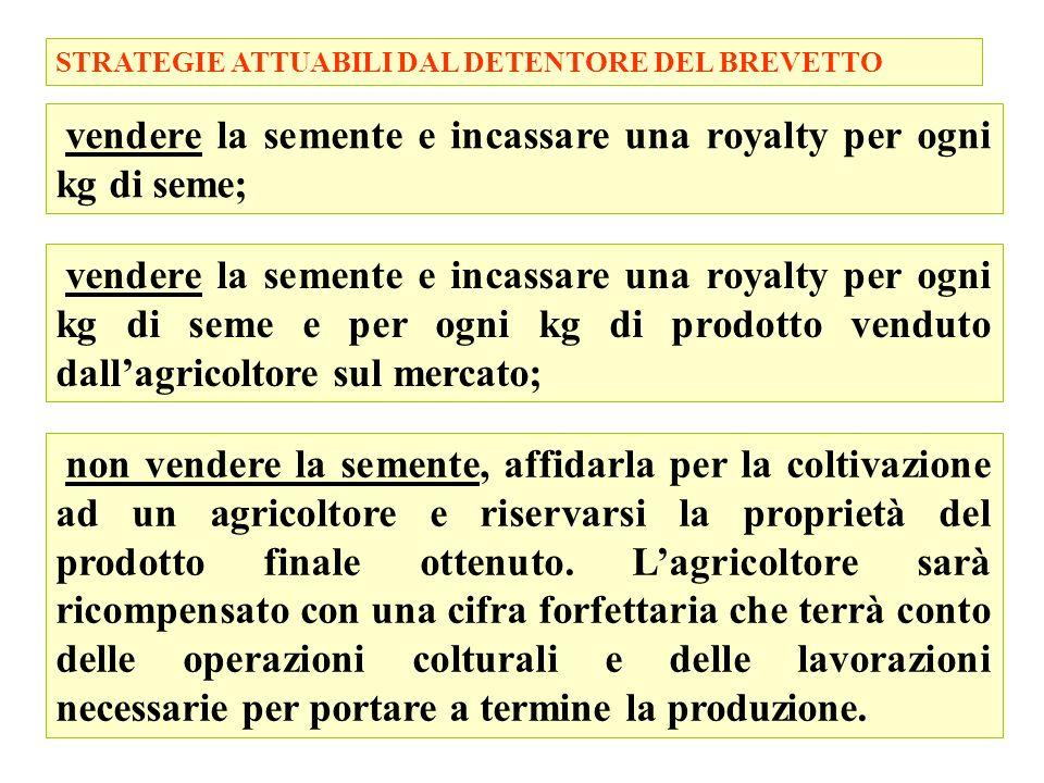 48 STRATEGIE ATTUABILI DAL DETENTORE DEL BREVETTO vendere la semente e incassare una royalty per ogni kg di seme; vendere la semente e incassare una r