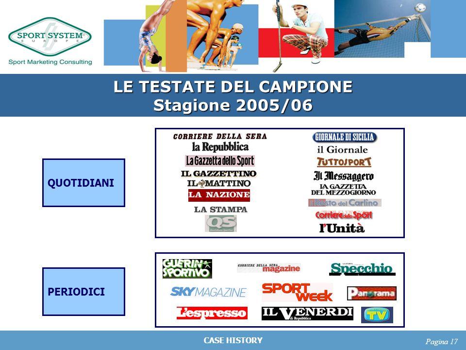 CASE HISTORY Pagina 17 LE TESTATE DEL CAMPIONE Stagione 2005/06 QUOTIDIANI PERIODICI