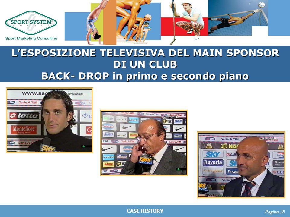 CASE HISTORY Pagina 28 LESPOSIZIONE TELEVISIVA DEL MAIN SPONSOR DI UN CLUB BACK- DROP in primo e secondo piano
