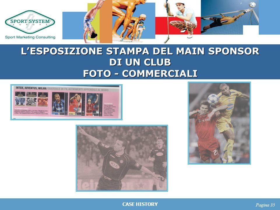 CASE HISTORY Pagina 35 LESPOSIZIONE STAMPA DEL MAIN SPONSOR DI UN CLUB FOTO - COMMERCIALI