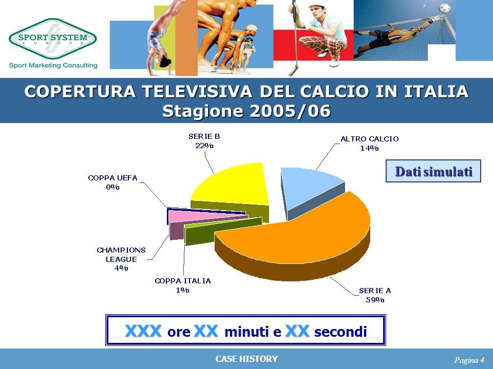 CASE HISTORY Pagina 4 COPERTURA TELEVISIVA DEL CALCIO IN ITALIA Stagione 2005/06 XXXXX XX XXX ore XX minuti e XX secondi Dati simulati
