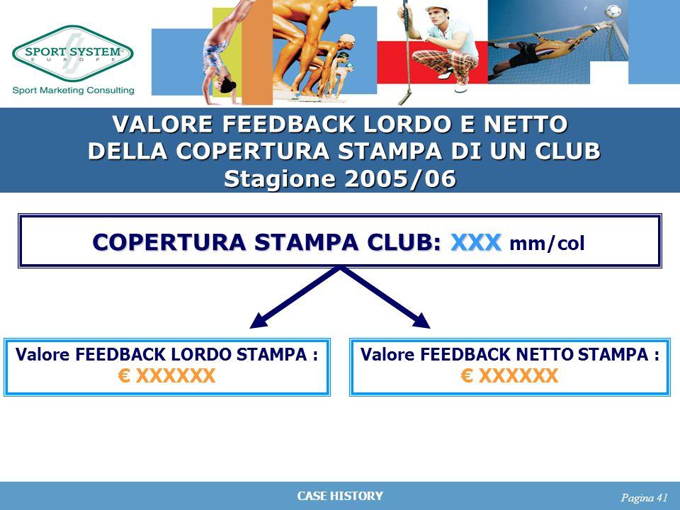 CASE HISTORY Pagina 41 VALORE FEEDBACK LORDO E NETTO DELLA COPERTURA STAMPA DI UN CLUB DELLA COPERTURA STAMPA DI UN CLUB Stagione 2005/06 COPERTURA ST