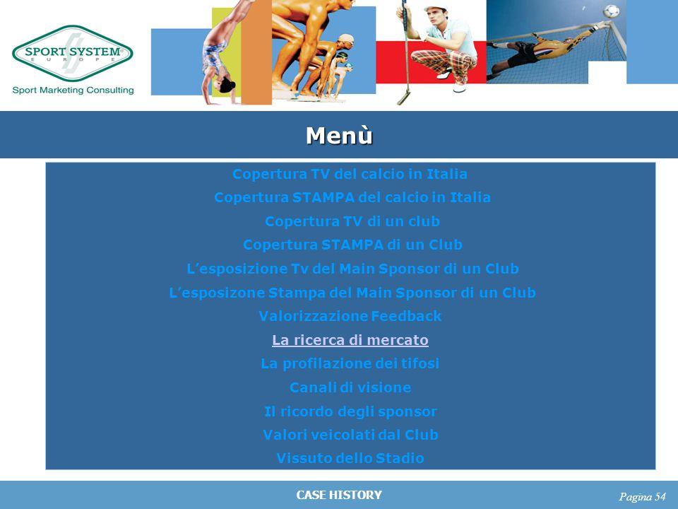 CASE HISTORY Pagina 54 Menù Copertura TV del calcio in Italia Copertura STAMPA del calcio in Italia Copertura TV di un club Copertura STAMPA di un Clu