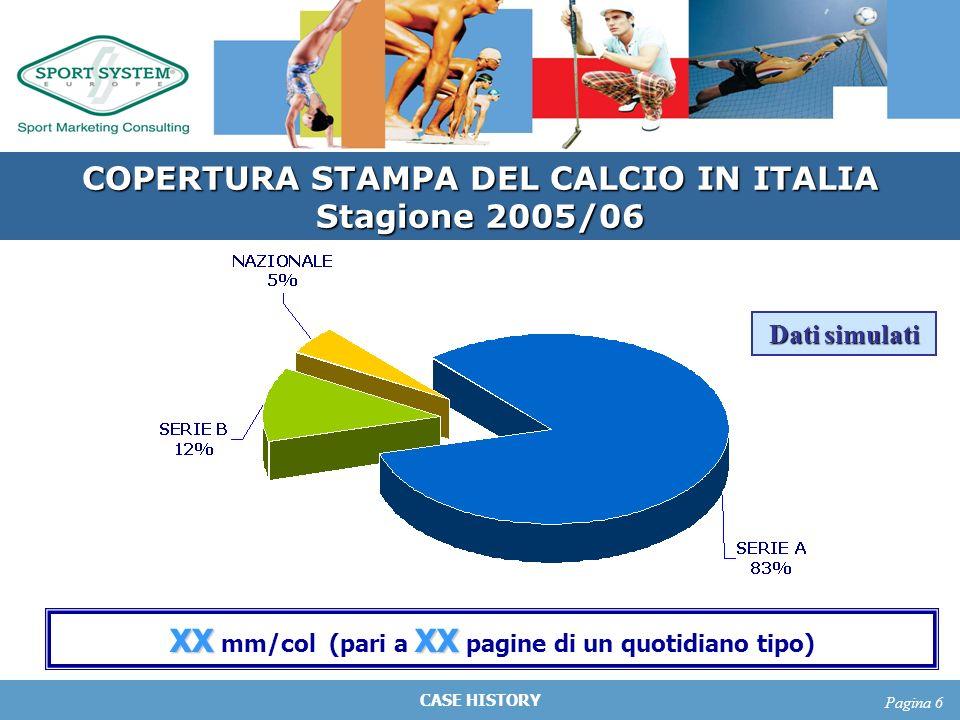 CASE HISTORY Pagina 6 COPERTURA STAMPA DEL CALCIO IN ITALIA Stagione 2005/06 Dati simulati XXXX XX mm/col (pari a XX pagine di un quotidiano tipo)