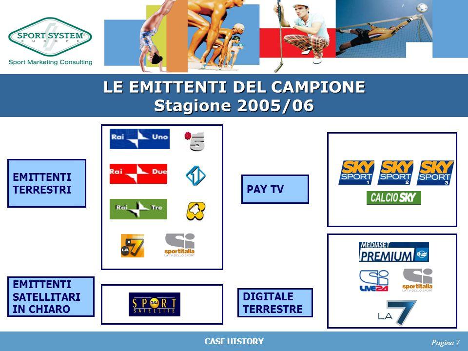 CASE HISTORY Pagina 7 EMITTENTI TERRESTRI EMITTENTI SATELLITARI IN CHIARO PAY TV LE EMITTENTI DEL CAMPIONE Stagione 2005/06 DIGITALE TERRESTRE