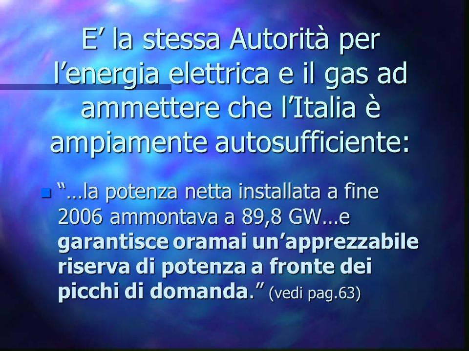 E la stessa Autorità per lenergia elettrica e il gas ad ammettere che lItalia è ampiamente autosufficiente: n …la potenza netta installata a fine 2006 ammontava a 89,8 GW…e garantisce oramai unapprezzabile riserva di potenza a fronte dei picchi di domanda.