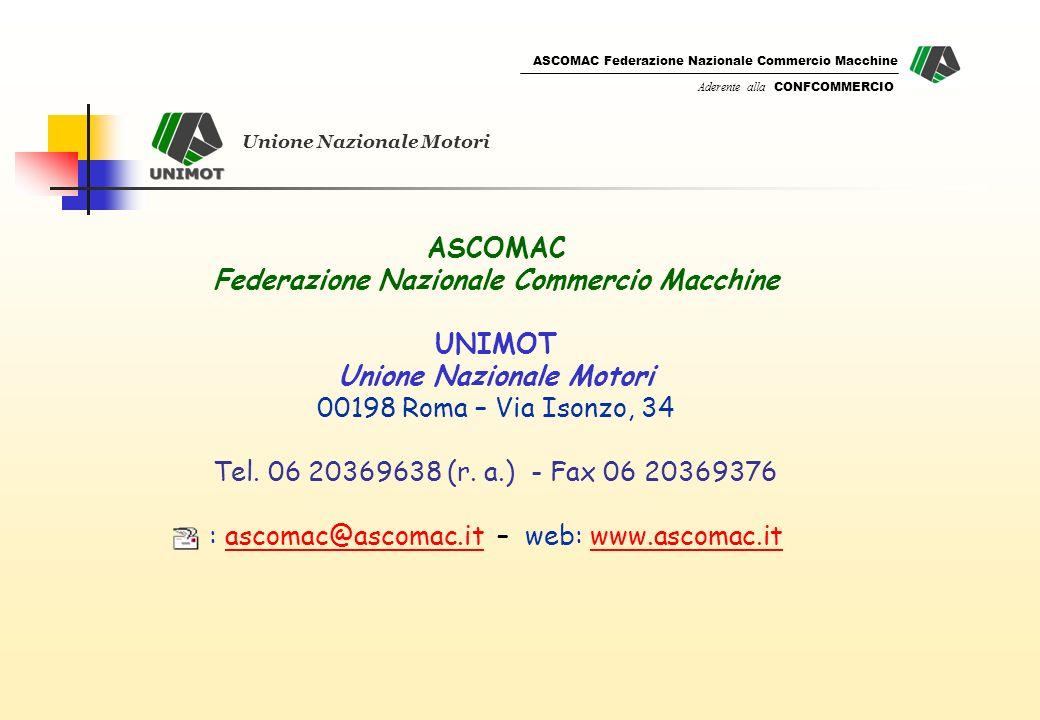 ASCOMAC Federazione Nazionale Commercio Macchine Aderente alla CONFCOMMERCIO ASCOMAC Federazione Nazionale Commercio Macchine UNIMOT Unione Nazionale Motori 00198 Roma – Via Isonzo, 34 Tel.