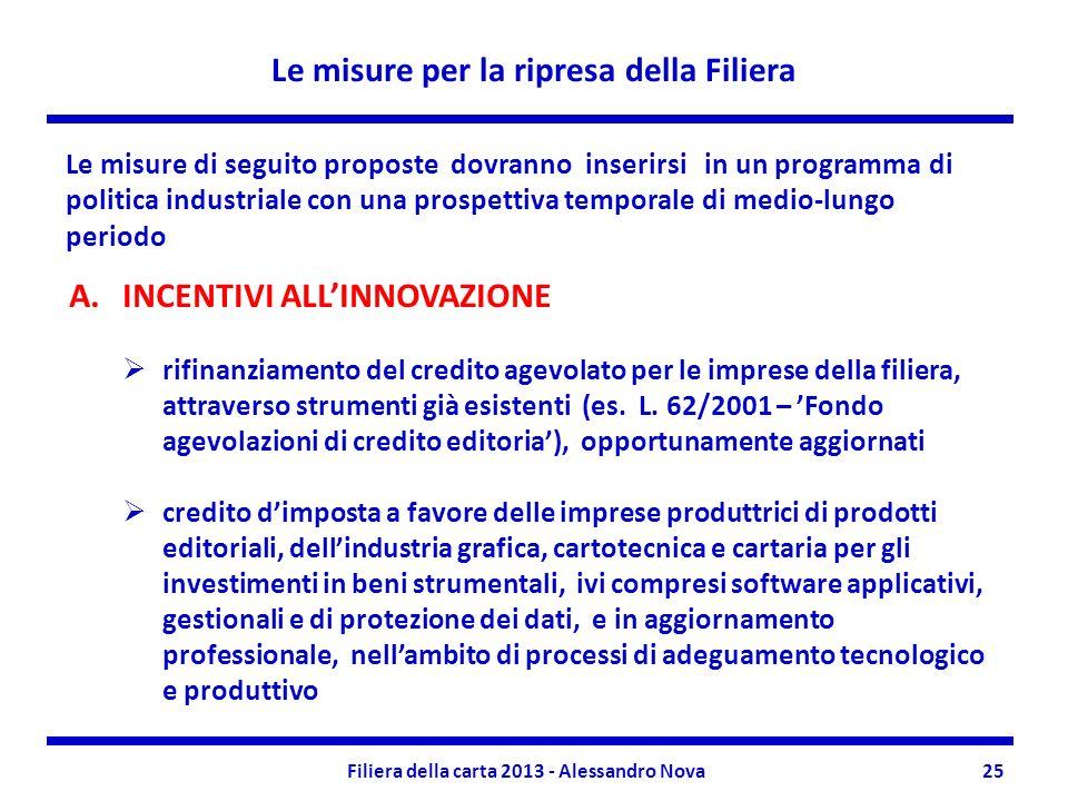 Le misure per la ripresa della Filiera Filiera della carta 2013 - Alessandro Nova25 Le misure di seguito proposte dovranno inserirsi in un programma d
