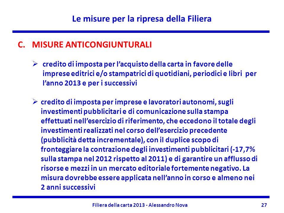 Le misure per la ripresa della Filiera Filiera della carta 2013 - Alessandro Nova27 C.MISURE ANTICONGIUNTURALI credito di imposta per lacquisto della