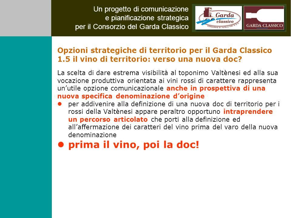 Un progetto di comunicazione e pianificazione strategica per il Consorzio del Garda Classico La scelta di dare estrema visibilità al toponimo Valtènes