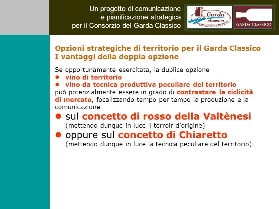 Un progetto di comunicazione e pianificazione strategica per il Consorzio del Garda Classico Se opportunamente esercitata, la duplice opzione vino di