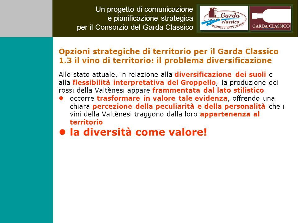 Un progetto di comunicazione e pianificazione strategica per il Consorzio del Garda Classico Allo stato attuale, in relazione alla diversificazione de