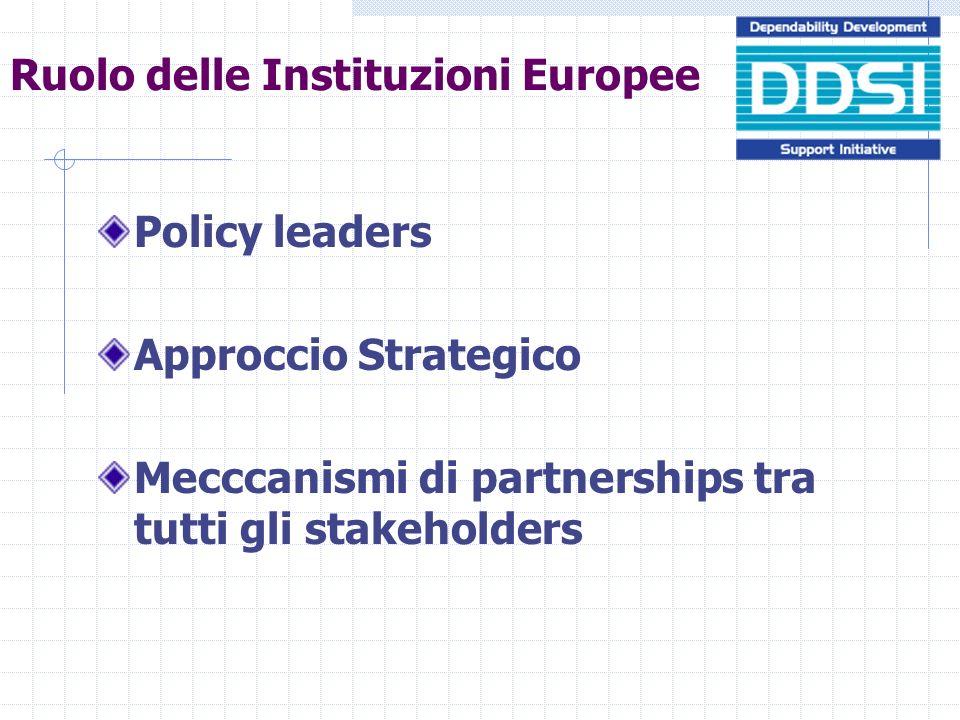 Ruolo delle Instituzioni Europee Policy leaders Approccio Strategico Mecccanismi di partnerships tra tutti gli stakeholders