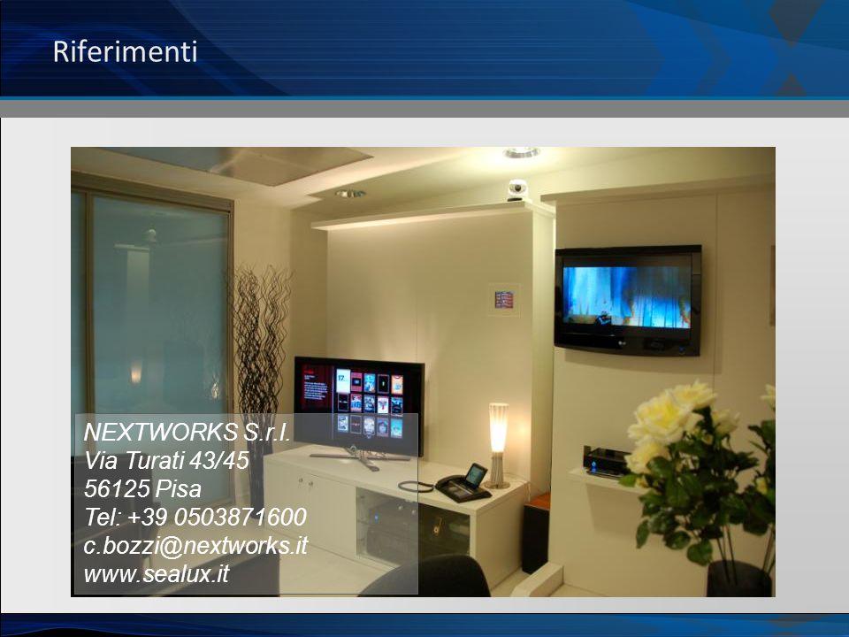 Riferimenti NEXTWORKS S.r.l. Via Turati 43/45 56125 Pisa Tel: +39 0503871600 c.bozzi@nextworks.it www.sealux.it