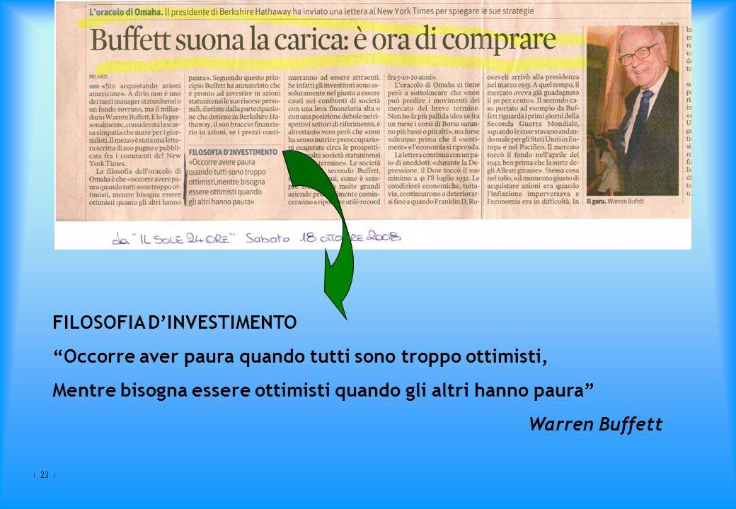 23 FILOSOFIA DINVESTIMENTO Occorre aver paura quando tutti sono troppo ottimisti, Mentre bisogna essere ottimisti quando gli altri hanno paura Warren Buffett