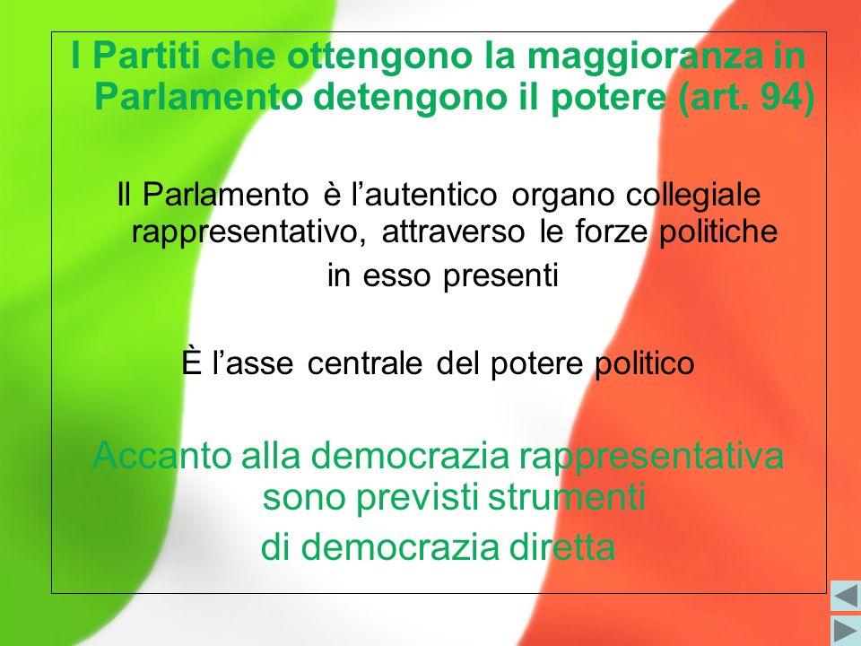 I Partiti che ottengono la maggioranza in Parlamento detengono il potere (art. 94) Il Parlamento è lautentico organo collegiale rappresentativo, attra