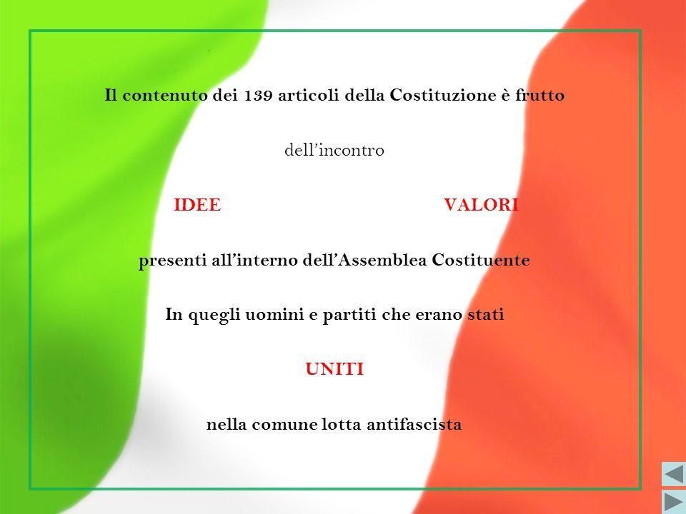 Il contenuto dei 139 articoli della Costituzione è frutto dellincontro IDEE VALORI presenti allinterno dellAssemblea Costituente In quegli uomini e pa