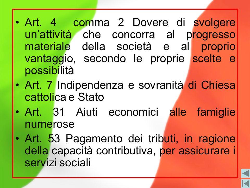 Art. 4 comma 2 Dovere di svolgere unattività che concorra al progresso materiale della società e al proprio vantaggio, secondo le proprie scelte e pos