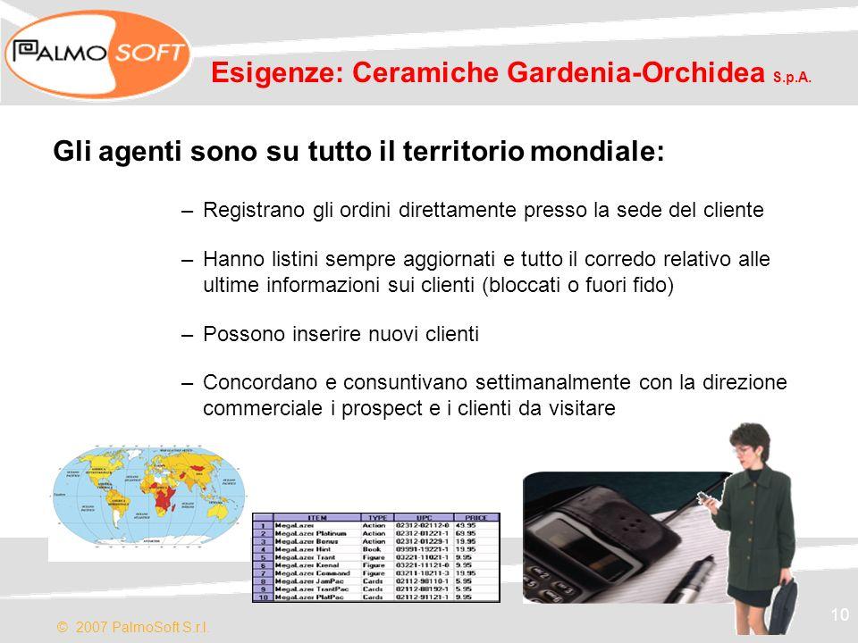 © 2007 PalmoSoft S.r.l. 10 Esigenze: Ceramiche Gardenia-Orchidea S.p.A. Gli agenti sono su tutto il territorio mondiale: –Registrano gli ordini dirett