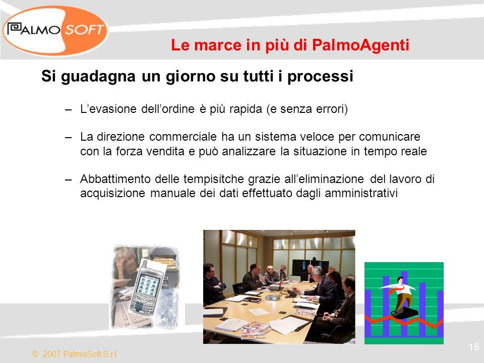 © 2007 PalmoSoft S.r.l. 15 Le marce in più di PalmoAgenti Si guadagna un giorno su tutti i processi –Levasione dellordine è più rapida (e senza errori