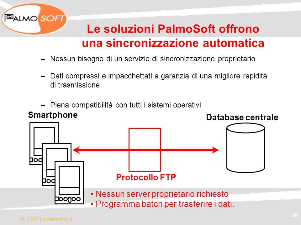 © 2007 PalmoSoft S.r.l. 20 Le soluzioni PalmoSoft offrono una sincronizzazione automatica –Nessun bisogno di un servizio di sincronizzazione proprieta