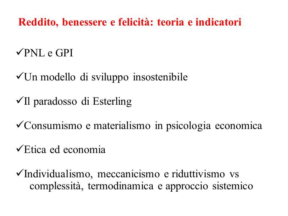 Reddito, benessere e felicità: teoria e indicatori PNL e GPI Un modello di sviluppo insostenibile Il paradosso di Esterling Consumismo e materialismo