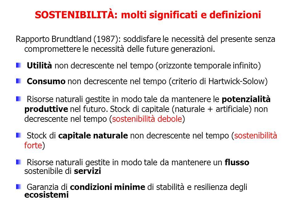 Rapporto Brundtland (1987): soddisfare le necessità del presente senza compromettere le necessità delle future generazioni. Utilità non decrescente ne