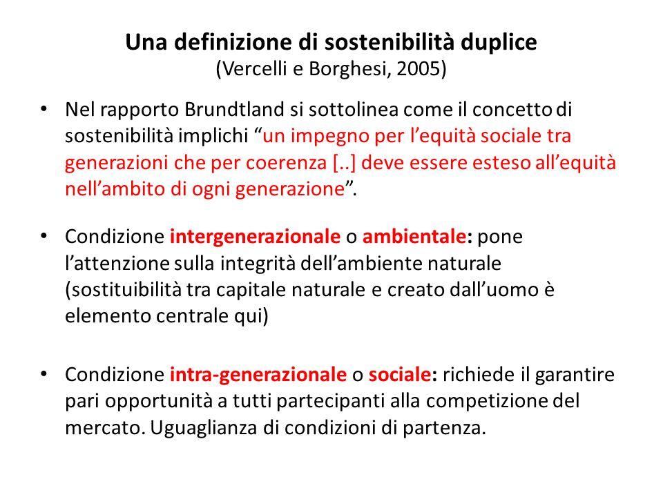 Una definizione di sostenibilità duplice (Vercelli e Borghesi, 2005) Nel rapporto Brundtland si sottolinea come il concetto di sostenibilità implichi un impegno per lequità sociale tra generazioni che per coerenza [..] deve essere esteso allequità nellambito di ogni generazione.