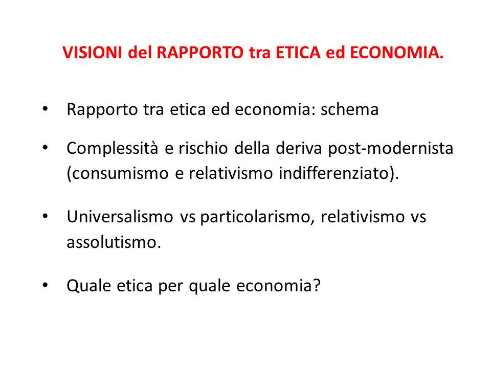 VISIONI del RAPPORTO tra ETICA ed ECONOMIA. Rapporto tra etica ed economia: schema Complessità e rischio della deriva post-modernista (consumismo e re