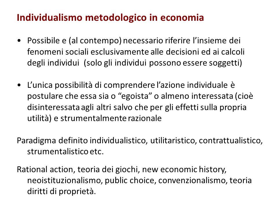 Individualismo metodologico in economia Possibile e (al contempo) necessario riferire linsieme dei fenomeni sociali esclusivamente alle decisioni ed a
