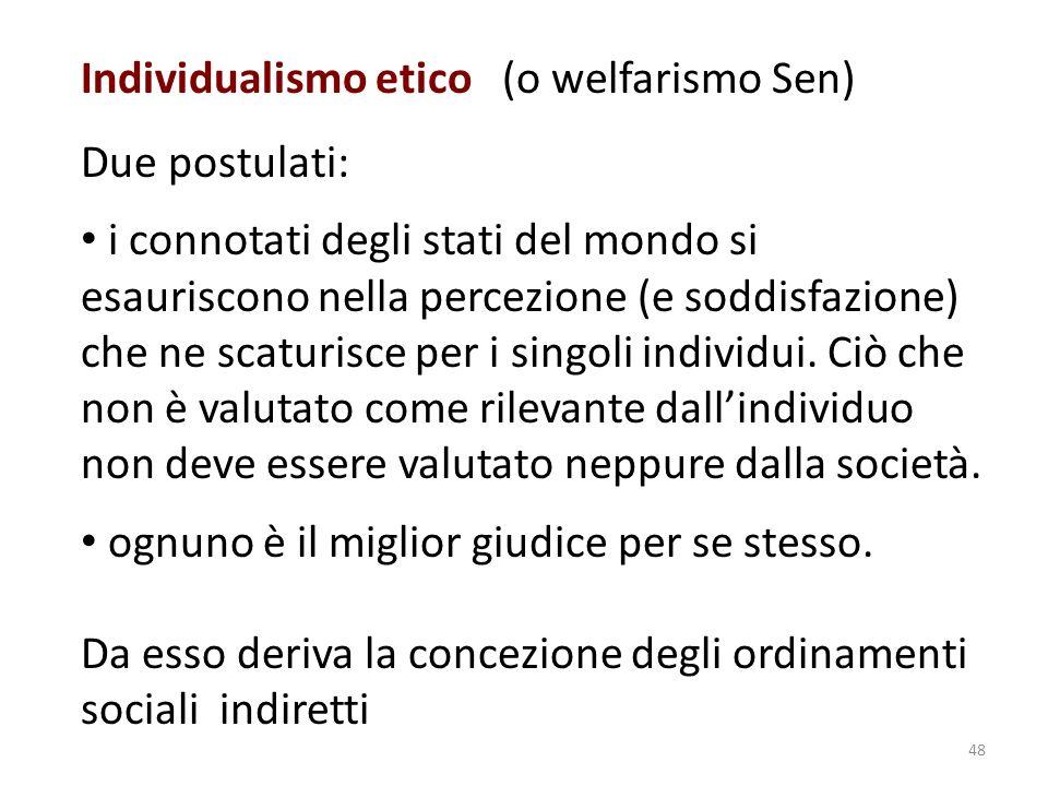 Individualismo etico (o welfarismo Sen) Due postulati: i connotati degli stati del mondo si esauriscono nella percezione (e soddisfazione) che ne scaturisce per i singoli individui.
