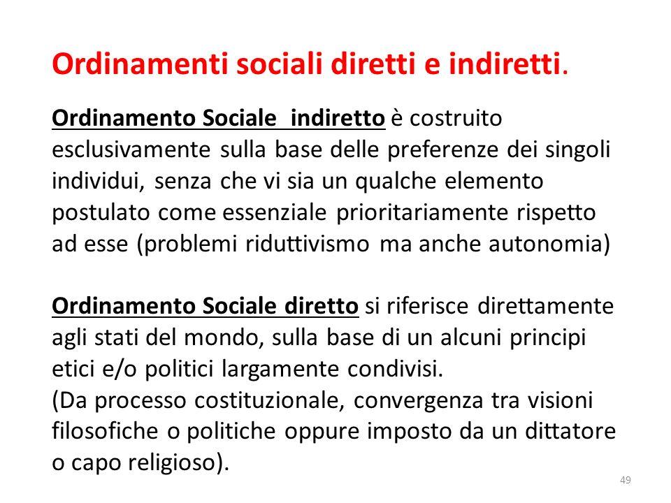 Ordinamenti sociali diretti e indiretti. Ordinamento Sociale indiretto è costruito esclusivamente sulla base delle preferenze dei singoli individui, s