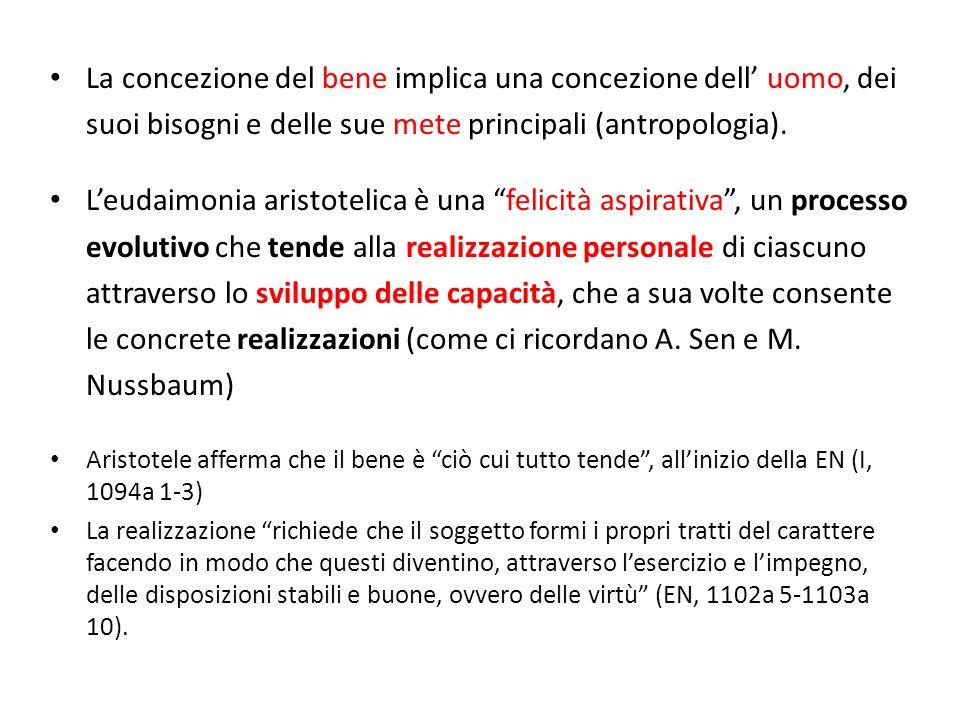 La concezione del bene implica una concezione dell uomo, dei suoi bisogni e delle sue mete principali (antropologia).