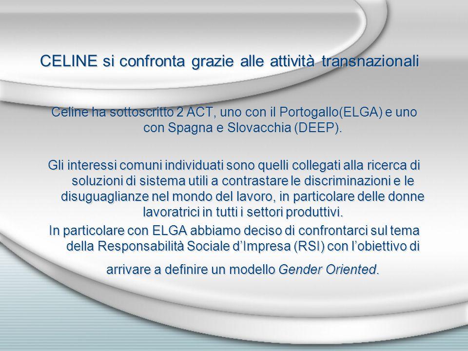 CELINE si confronta grazie alle attività transnazionali Celine ha sottoscritto 2 ACT, uno con il Portogallo(ELGA) e uno con Spagna e Slovacchia (DEEP).