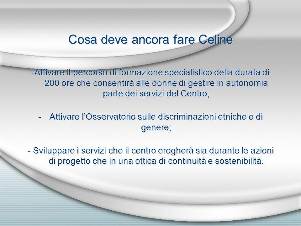 Cosa deve ancora fare Celine -Attivare il percorso di formazione specialistico della durata di 200 ore che consentirà alle donne di gestire in autonom