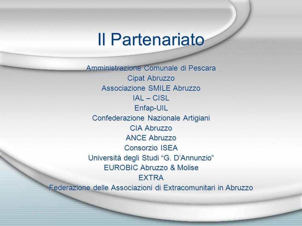 Il Partenariato Amministrazione Comunale di Pescara Cipat Abruzzo Associazione SMILE Abruzzo IAL – CISL Enfap-UIL Confederazione Nazionale Artigiani C