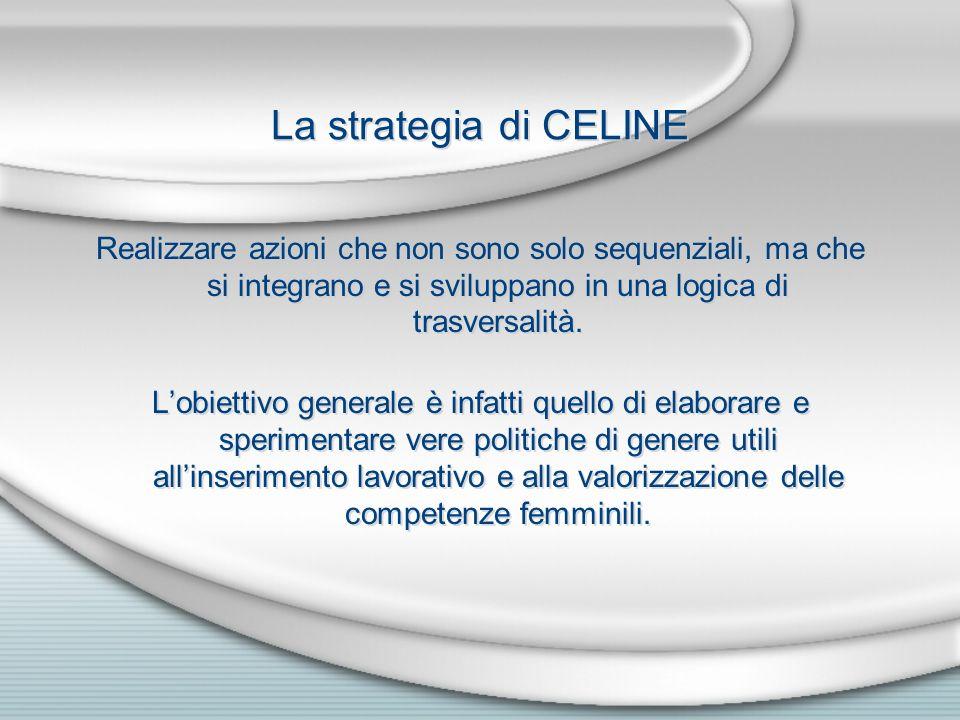 La strategia di CELINE Realizzare azioni che non sono solo sequenziali, ma che si integrano e si sviluppano in una logica di trasversalità. Lobiettivo
