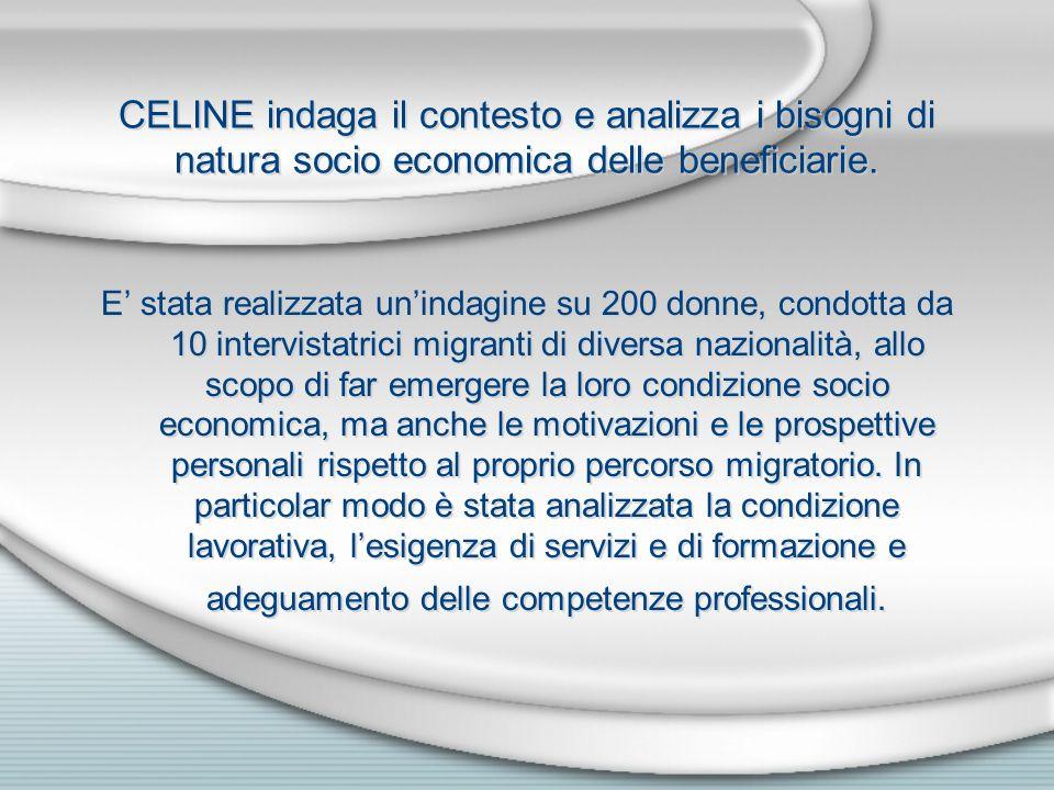 CELINE indaga il contesto e analizza i bisogni di natura socio economica delle beneficiarie.
