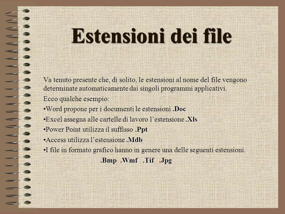 Estensioni dei file Va tenuto presente che, di solito, le estensioni al nome del file vengono determinate automaticamente dai singoli programmi applicativi.