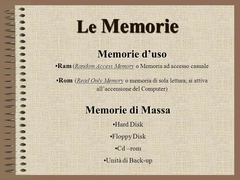 Le Memorie Memorie duso Random Access MemoryRam (Random Access Memory o Memoria ad accesso casuale Read Only MemoryRom (Read Only Memory o memoria di