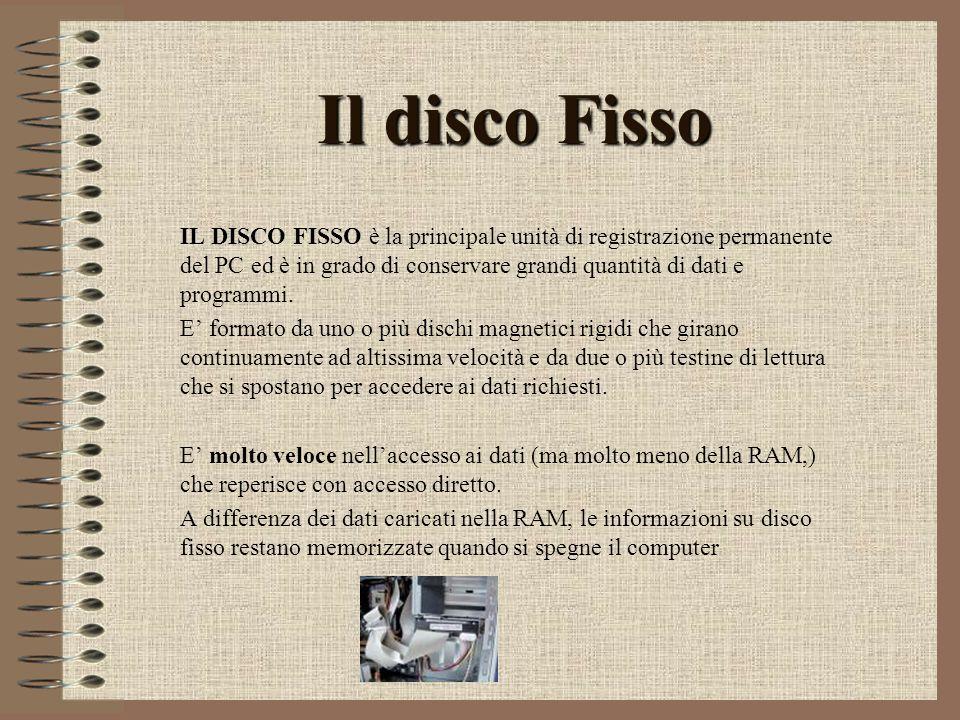 Il disco Fisso IL DISCO FISSO è la principale unità di registrazione permanente del PC ed è in grado di conservare grandi quantità di dati e programmi