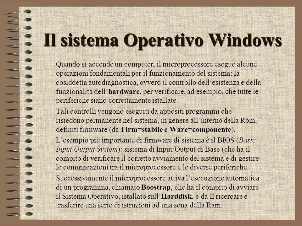 Il sistema Operativo Windows Quando si accende un computer, il microprocessore esegue alcune operazioni fondamentali per il funzionamento del sistema: