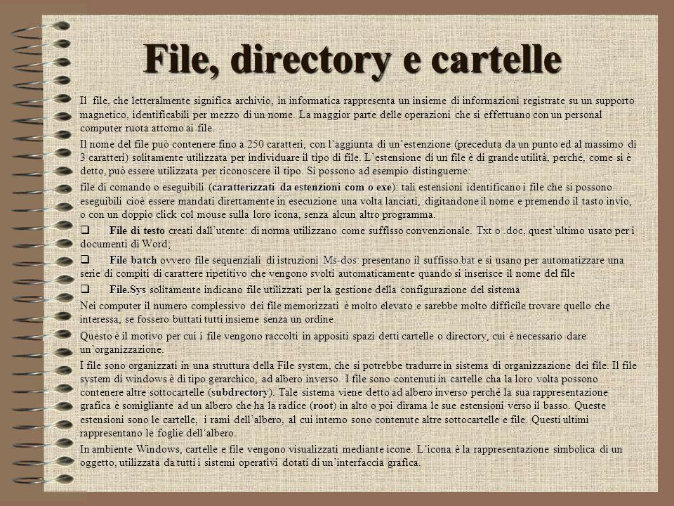 File, directory e cartelle Il file, che letteralmente significa archivio, in informatica rappresenta un insieme di informazioni registrate su un supporto magnetico, identificabili per mezzo di un nome.