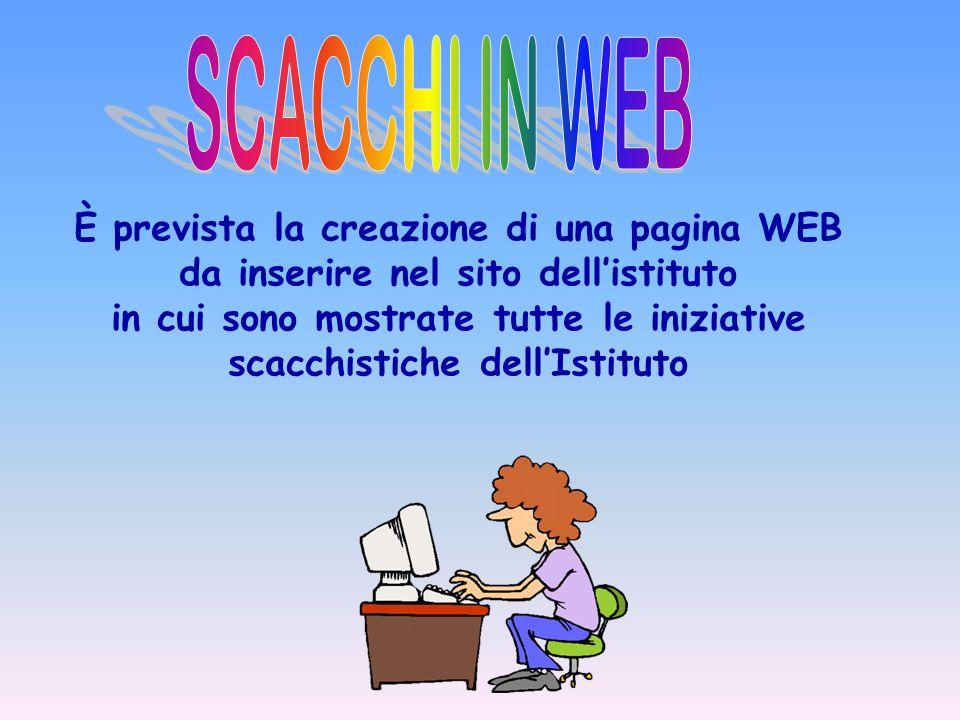 È prevista la creazione di una pagina WEB da inserire nel sito dellistituto in cui sono mostrate tutte le iniziative scacchistiche dellIstituto