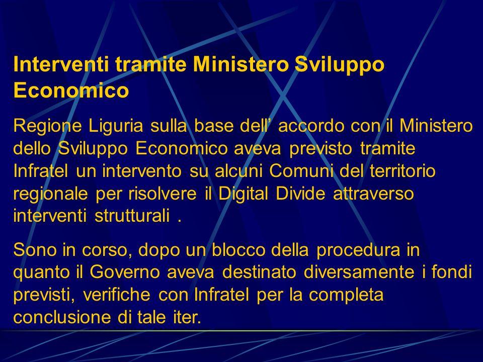 Interventi tramite Ministero Sviluppo Economico Regione Liguria sulla base dell accordo con il Ministero dello Sviluppo Economico aveva previsto tramite Infratel un intervento su alcuni Comuni del territorio regionale per risolvere il Digital Divide attraverso interventi strutturali.