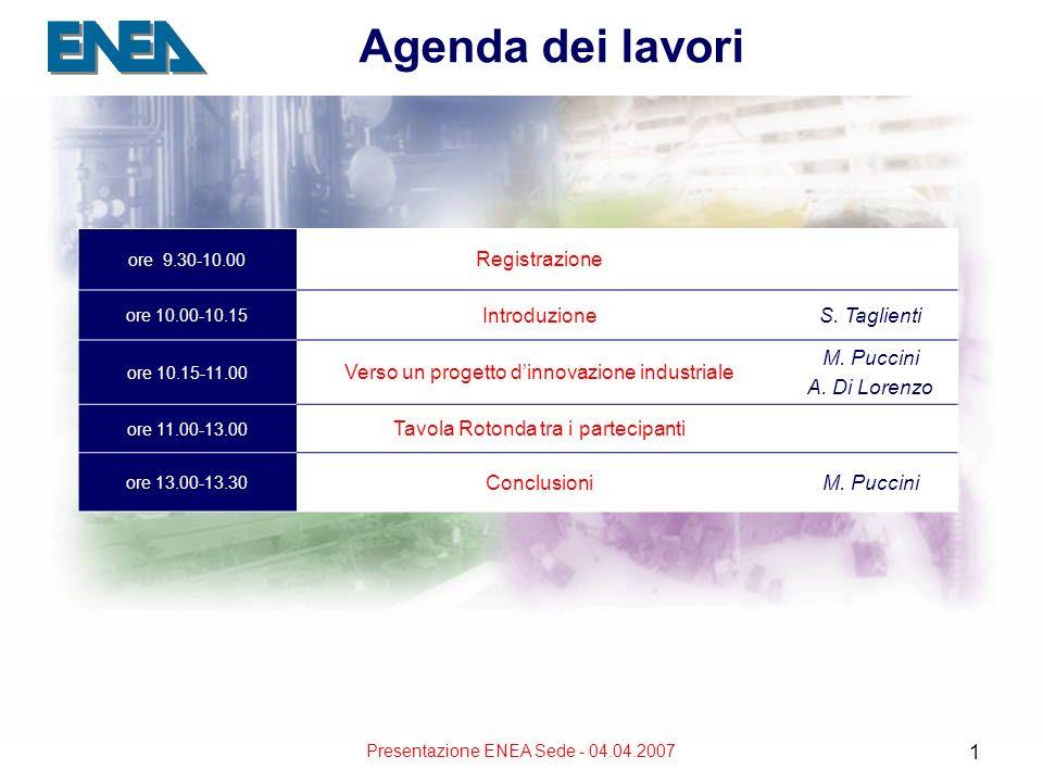 Presentazione ENEA Sede - 04.04.2007 1 ore 9.30-10.00 Registrazione ore 10.00-10.15 IntroduzioneS. Taglienti ore 10.15-11.00 Verso un progetto dinnova