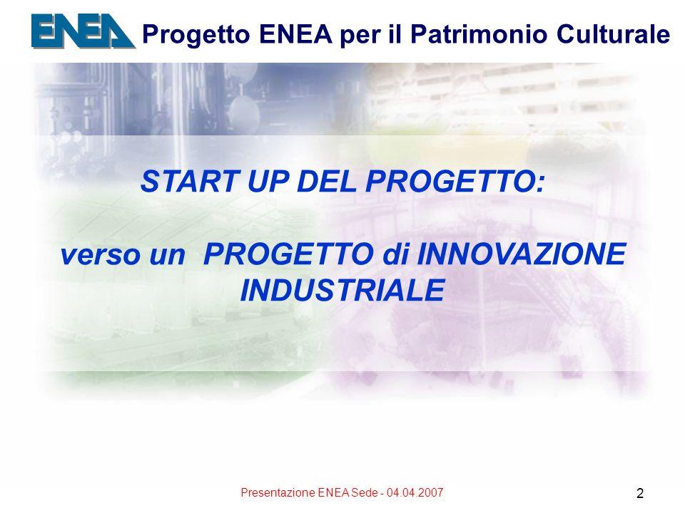 Presentazione ENEA Sede - 04.04.2007 2 START UP DEL PROGETTO: verso un PROGETTO di INNOVAZIONE INDUSTRIALE Progetto ENEA per il Patrimonio Culturale