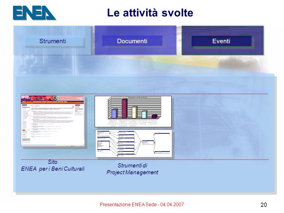 Presentazione ENEA Sede - 04.04.2007 20 Le attività svolte Strumenti Documenti Eventi Strumenti di Project Management Sito ENEA per i Beni Culturali